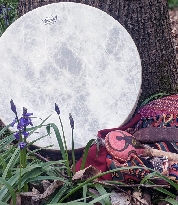 Gloria Urech with Medicine Drum