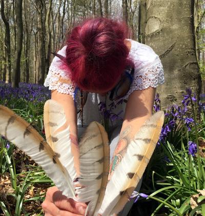 Gloria Urech in the garden
